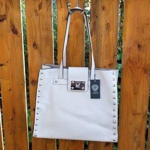 Vince Camuto soft gray leather studded bag, NWT